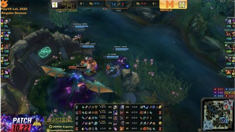 The Sunny Hills League of Legends eSports team defeats Menlo High School's Red team's third dragon in a Tuesday CIF match.