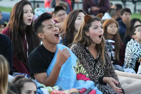Class of 2014 students react to the movie they were watching in the Sunny Hills quad during the Oct. 3 Senior Sunrise, considered the first traditional senior event of the school year. The Class of 2021 will be the first to not be able to have one because of the coronavirus pandemic, which has caused all Associated Student Body on-campus events to be canceled in the fall semester. Some seniors, however, are working on organizing an off-campus gathering that