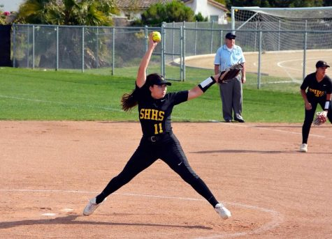Then-junior Abbie Landrum pitches in an 11-4 win against Tesoro at Sunny Hills High School on March 7.