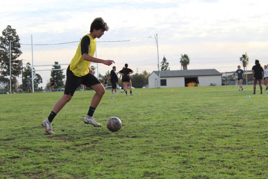 Center+defensive+midfielder+junior+Michael+Franco+guides+the+soccer+ball+during+practice+on+the+practice+field+on+Dec.+8.
