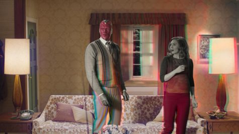 Paul Bettany (left) reprises his role as Vision, who now lives with Elizabeth Olsen