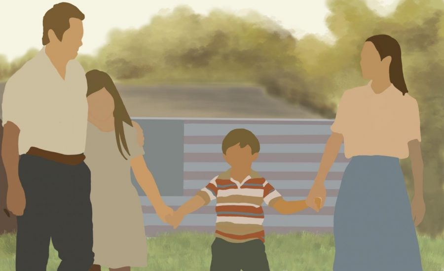 "An artist's rendering of a scene from the film ""Minari,"" where a Korean American family moves to an Arkansas farm in hopes of achieving their American Dream."