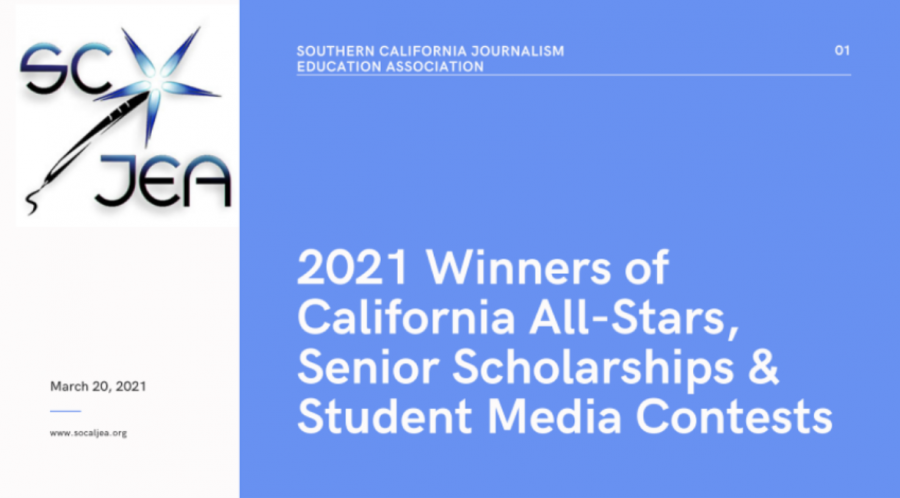 This is the front cover of the Google slide awards presentation that announced The Accolade's online news website as winning first place for the California All-Stars contest sponsored by the Southern California Journalism Education Association. The Accolade placed second in the newspaper category and tied for second with Irvine's Northwood High School in the Student Media Contests' sweepstakes category.
