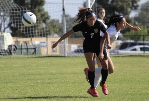 Senior forward Jazmin Montalvo (left) moves around her opponent during an April 20 2-1 win over the La Habra Highlanders. Montalvo, the last of four other siblings who have graduated from Sunny Hills, has committed to attend Biola University in La Mirada.