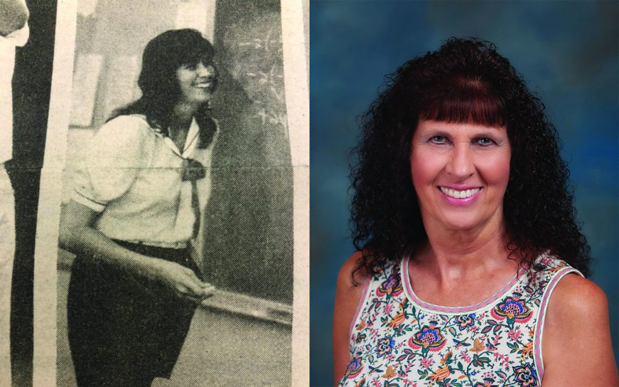 Teresa Hallbauer (left) appears in a Sept. 30, 1983, article about new teacher hires in The Accolade. The math instructor now goes by the name, Teri Klein, who appears in a 2020 yearbook photo. Klein retired after nearly 37 years in education, most of those spent at Sunny Hills High School.