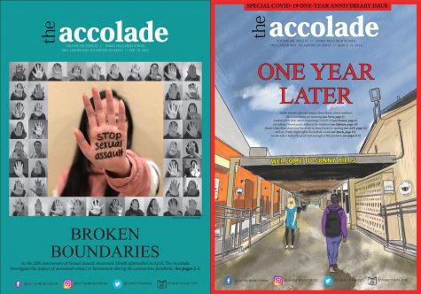 The Accolade's Feb. 19 (left) and March 13 issues received Top 10 recognition in a recent Best of Show contest sponsored by the National Scholastic Press Association during a virtual spring journalism convention in April.