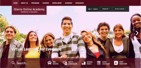 Upon entering the iSierra Online Academy website, viewers can see buttons with titles and slideshow of photos. The website provides information about the courses, programs, staff, enrollment and more.