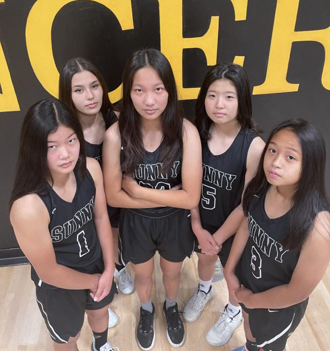 The five varsity freshman athletes, Rebecca Fruto (left), Taylor Parra, Natalie Do, Erin Choi and Gwen Briones recreate the iconic pose of the fab five on Picture Day.
