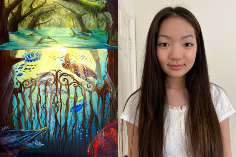 Junior Sharon Choi's award-winning painting in the international 2021 Science Without Borders Challenge depicts the mangroves as a safety shelter for the small fish from the predators.