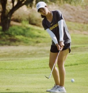 Junior Katie Pyo hits a tee shot during a practice round after school at Break Creek Golf Course in Brea on Thursday, Aug 19.