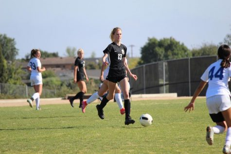 Defender senior Anika Osborne in an April 20 home game against La Habra. Osborne has made a verbal commitment to play for the girls soccer team at the University of California, Irvine.