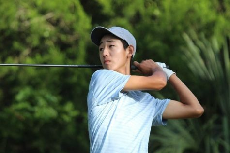 Junior Carson Kim keeps track of his shot during the 2020 Junior Players Championships in Florida.