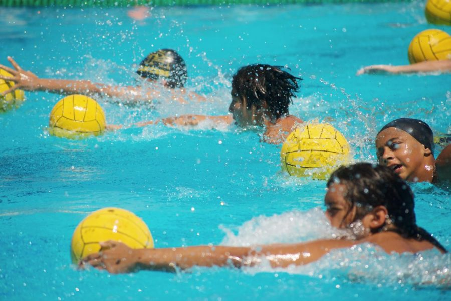 The Lancers practice their ball-handling skills as they dribble the balls across the Sunny Hills pool Aug. 5.