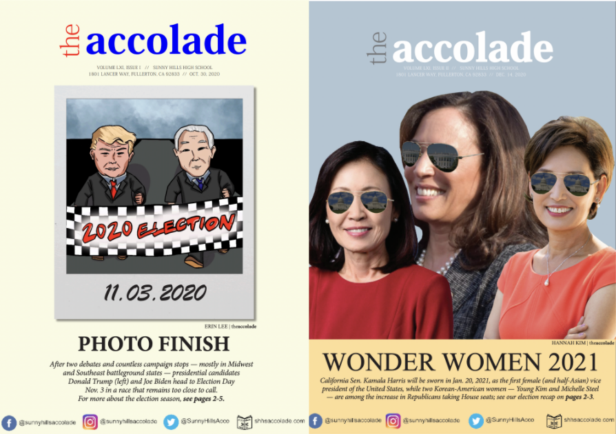 """The Accolade adviser Tommy Li submitted the Oct. 30 """"Photo Finish"""" (left) and Dec. 14 """"Wonder Women 2021"""" PDF print issues to the Southern California Journalism Awards contest sponsored by the Los Angeles Press Club and was named a finalist for Best High School paper for a fifth year straight."""
