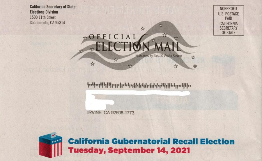 The state has started sending special recall election ballot information to registered voters like this one. The name and address have been removed for confidentiality.