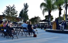 SH principal Allen Whitten gives a preview of school life on campus to parents in the quad during the Back to School Night Assembly Aug. 31.