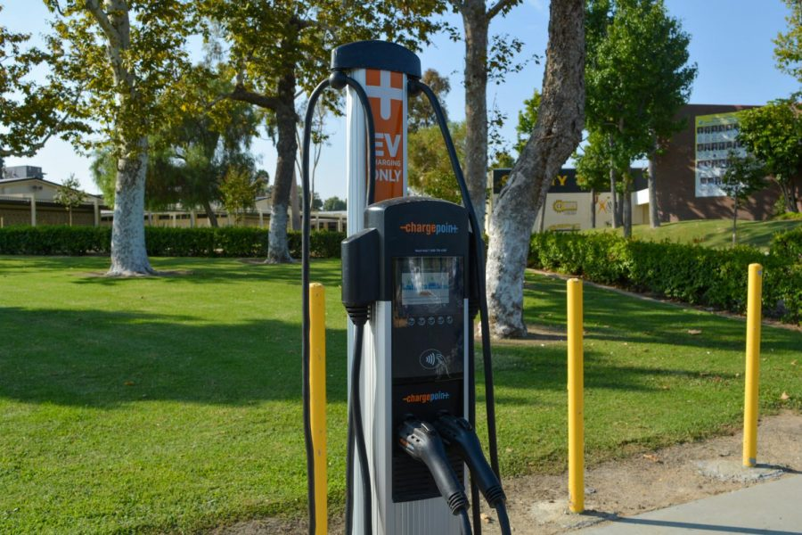 The newly installed Chargepoint stations allow staff to charge their EVs during school and students and other guests after school for a fee per hour of use.