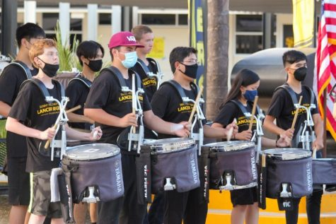 The Sunny Hills drumline performs before the start of principal Allen Whittens introduction for Back to School Night Tuesday Aug. 31.