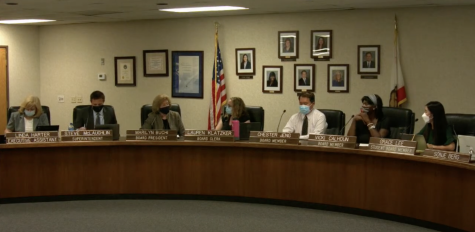 A screenshot of the Sept. 14 trustees meeting in the Fullerton Joint Union High School District board room. The district's renewal of its nearly $75,000 contract with Zoom was among the items approved as part of the consent calendar during the meeting.